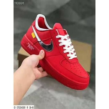 Nike Air Force 1 X Off White Women Men Casual Sport Running Shoes Snealers Red