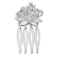 Silver Plated Crystal Flower Design Hair Comb