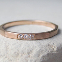 Fairtrade Gold Wedding Ring, Eternity Band or Stacking Ring in 18k Red Gold with 3 Conflict Free Diamonds.