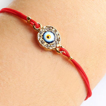 Evil eye bracelet handmade swarovski evil eye gold plated red string bracelet istanbul turkey ethnic best friend birthday gift