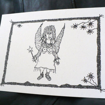 Goth / Alternative Birthday Fairy - Greeting Card w / envelope - Dark Humor - Recycled Paper - IntricateKnot