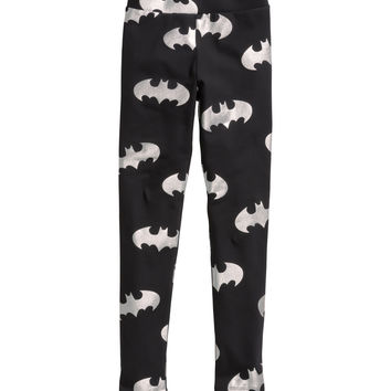 H&M - Patterned Leggings - Black/Batman - Kids