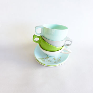 Vintage Melmac Cups, Melamine Dinnerware, Watertown Lifetime, Plastic Pastel Dishes, Retro Kitchen, 1950 Ware, Vintage Kitchen