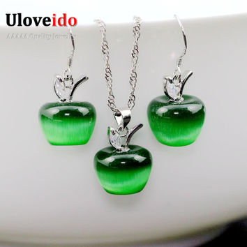 Copper Earrings Necklace Sets Fashion Zirconia Kid Jade Jewelry Set Girl Collane Bridal Sets Boucle D'oreille Femme YL007