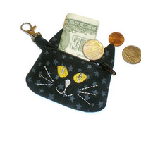 Black cat shaped zippered coin pouch, cat coin bag, cat coin purse, cat change purse, cat backpack tag, cat lover's gift, cat shaped purse