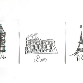 "12""x9"", Set of 3, Original Cities Art Drawing on paper, Rome London Paris original art decor, Charcoal pencil on papers"