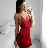 Sexy V-neck One Piece Dress [10837028559]