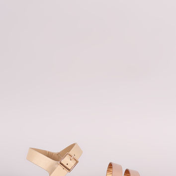 Bamboo Double Band Ankle Strap Flat Sandal