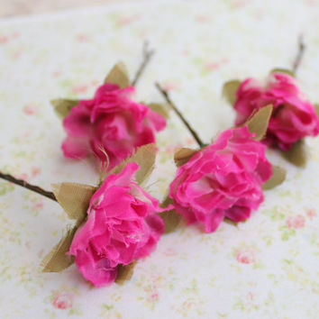 Hot Pink Rose Flowers Hair Bobby Pins. Bright Pink. Bridal. Flower Clips. Wedding Hair Pins. Fall Fashion. Hair Accessories.