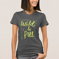 Wild and Free green and grey Typography T-shirt