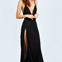 Lily Strappy Front Split Maxi Dress