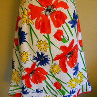 Kitchy Vintage 1960s Remix Upcycled  Vera 1960s Tablecloth Skirt M L