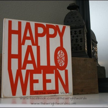 "12x12"" Happy Halloween Wood Sign"