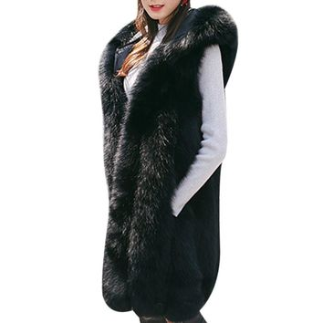 Thick Warm Women Long Rabbit Fur Coat 2017 Winter Sleeveless Fake Fur Jacket Hooded Faux Fur Vest Gilet Fourrure Femme Plus Size