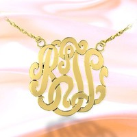 Monogram Necklace 1.5 inch Handcrafted 24K Gold Plated Silver Personalized Initial Necklace - Made in USA