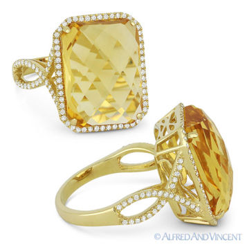 10.50 ct Checkerboard Cushion Citrine & Diamond Cocktail Ring in 14k Yellow Gold
