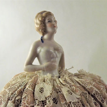 Antique Doll, Pincushion Glass Doll, Porcelain Half Doll, Made in Germany Figurine, 1920's vintage doll, Victorian Lady