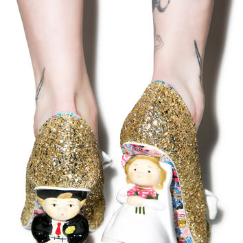 Irregular Choice Mr. & Mrs. Heels Gold Glitter