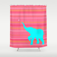Baby Elephant Shower Curtain by Rachel Sample