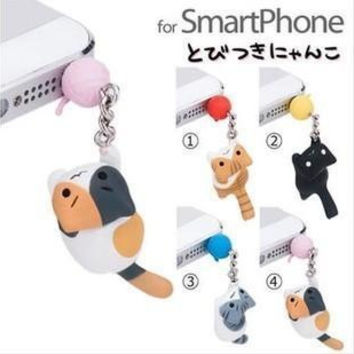 Fashion Chi's Sweet Home Cat catch the bulb lovely cute puppy 3.5mm universal dust Plug Earphone Jack Plug Headset Stopper Cap
