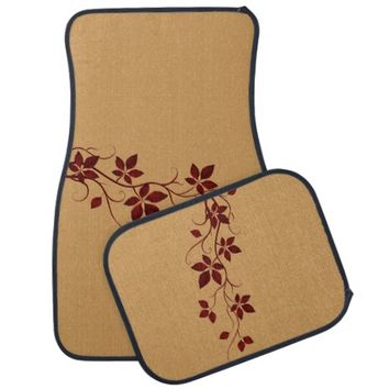 Pretty Red Autumn Leaves on the Vine Car Mat