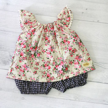Floral baby top and bloomer set, Baby girl clothes, baby gift, summer baby clothes