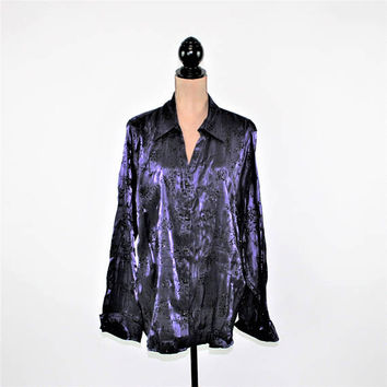 Purple Satin Blouse Women 3X Plus Size Tops Long Sleeve Button Up Shirt Sparkly Velvet Embossed Rayon Plus Size Clothing Womens Clothing