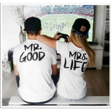 Cotton white t-shirt text couple installed short-sleeved men and women