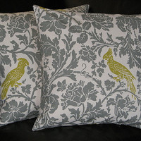 "Pillow Barber Bird EUROS 26 inch gray Decorative Pillows 26"" Floor Pillows grey and olive on natural"