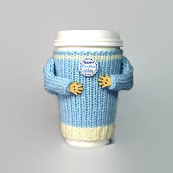 Hanukkah coffee cozy. Jewish gifts. Travel mug sleeve. Chanukah gift. Hanukkah sweater. Mug sweater. Hanukkah stocking. Coworker gift