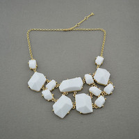 White bubble bib Statement necklace,holiday party Necklace,bridesmaid gifts,Beaded Jewelry,wedding necklace