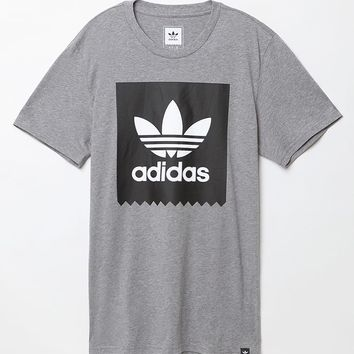 adidas Solid Logo Fill T-Shirt - Mens Tee - Grey