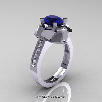 New Modern 14K White Gold 1.0 Ct Oval Blue Sapphire Accent White Diamond Engagement Ring AR136-14KWGDBS