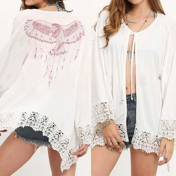 2018 Boho Style Women Eagle Print Kimono Shirts Summer Beach Cover Up Lace Crochet Long Sleeve Loose Cardigan Blouse Shawl Tops