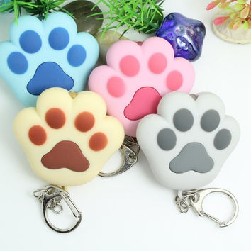 LED light Cat Paw Keychain With Sound, press will mew, lover gift, child toy, cat toy Mobile Phone Straps