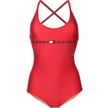 Tommy Hilfiger Fashion  New Bust Letter Print Swimming Straps One Piece Bikini Women Red