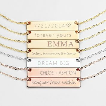 Personalized Necklace Name Plate Bar Gold Necklace Custom Silver Necklace Wedding Bridesmaid Gift Mom Mother's Day Gifts for Her - 4N