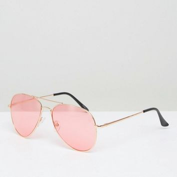 PrettyLittleThing Rose Tinted Aviator Sunglasses at asos.com