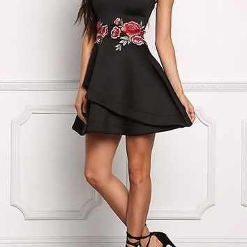 Black Floral Bandeau Off Shoulder Embroidery Zipper Prom Evening Party Mini Dress