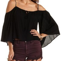 Black Tie-Neck Cold Shoulder Top by Charlotte Russe
