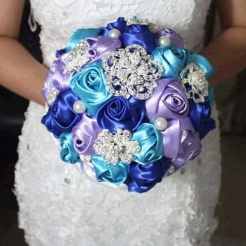 CREYUG3 purple blue handmade Wedding bouquet flower silk pearl diamond Bride Hands Holding Rose Flower Wedding Bridal Bridesmaid Flower = 1929784900