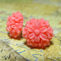 Pink Bouquet Flower Studs Resin Flower Cabochon with by EbonFlow