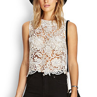 FOREVER 21 Metallic Crochet Floral Top Ivory/Gold