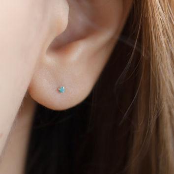 Tiny Turquoise Studs Earrings Jewelry
