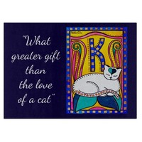 Love White Cat Quote with Monogram K Cutting Board