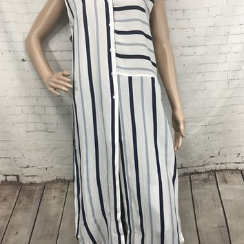 Contrast Stripe Button Down Tunic With Cutout Sides