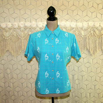 80s Womens Western Shirt Horse Print Short Sleeve Button Up Top Cotton Cowgirl Medium Large 1980s Wrangler Vintage Clothing Womens Clothing