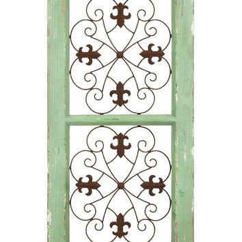 Traditional Metal And Wooden Wall Panel In Rustic Finish