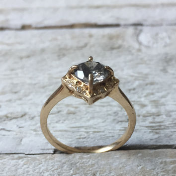 Mo - 1 Carat dark gray celestial diamond in square halo with diamonds - yellow gold - Ready to ship - One of a kind -