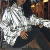 DCCKBA7 Supreme 17ss Reflective Half Zip Pullover 3m Full reflection submachine coat
